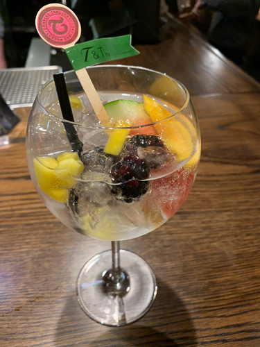 Glass of gin with fruit
