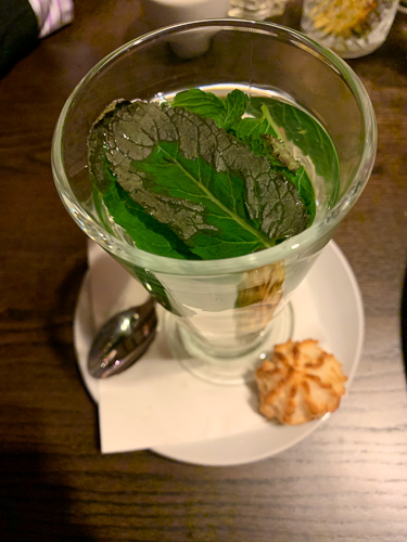 Fresh Mint Tea with Macaroon